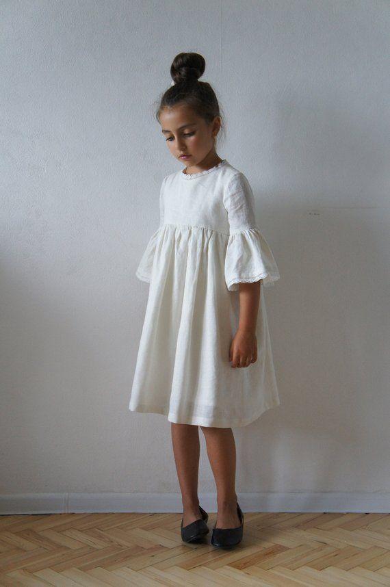 23746269adfd4 Linen Girl Dress, Linen Dress, Linen Dress for Girls, Flower Girl ...