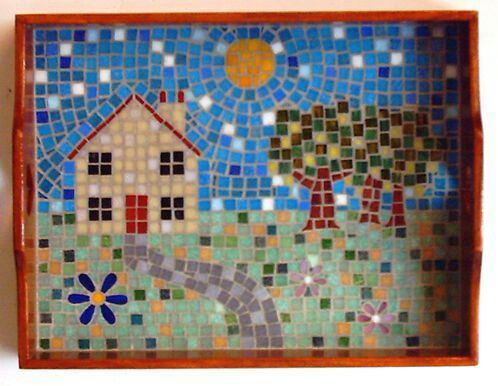 """Country Cottage"" mosaic tray - 2006 by Kevin McMahon @MosaicAvatar"
