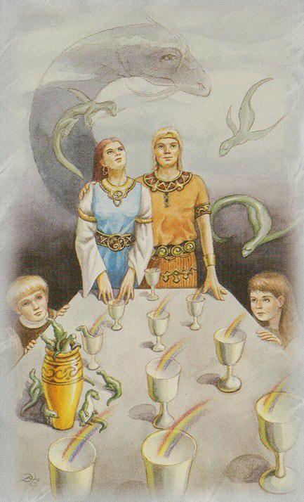 Celtic Dragon Tarot (DJ Conway, Lisa Hunt): 10 of Cups via http://www.albideuter.de/html/keltische_drachen_45.html