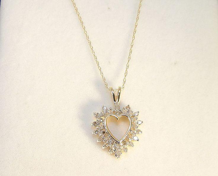 14K Yellow Gold Diamond 0.60TDW Heart Pendant/Chain #YellowGold #Chain #Pendant