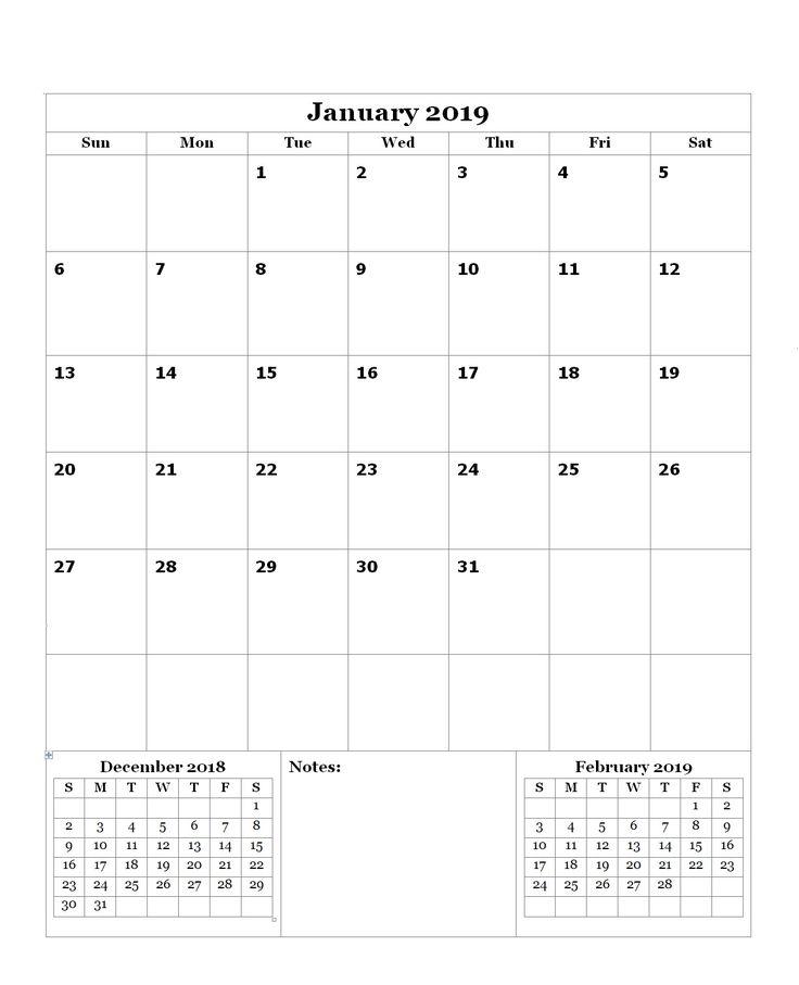 Free January 2019 Editable Calendar Calendar Designs Pinterest