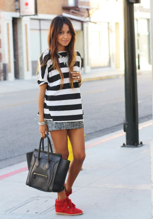 Tee: Zara | Skirt:Mango| Sneakers:Isabel Marant| Necklaces:Asos+ F21|  Rings: Heart from street vendor in NYC and the rest from Gabriela Artigas |  Studded bracelet:Gabriela Artigas for Sincerely Jules(image:sincerelyjules)