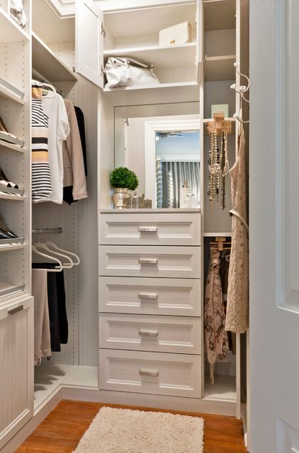 """The best way to treat closet interiors is to paint all surfaces with light-reflective white for maximum visibility. You can check how reflective your white is by looking on the color card at your local paint store for the LRV number. The higher the number (accompanied by the initials LRV, for """"light-reflective value""""), the more the available"""