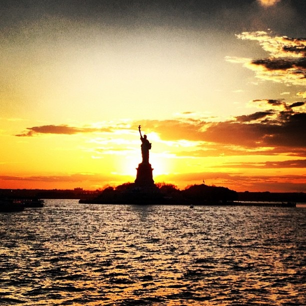 Lady Liberty at sunset., via Flickr.                                                                                                            Lady Liberty at sunset.             by        kyelikins      on        Flickr: Photos Shared