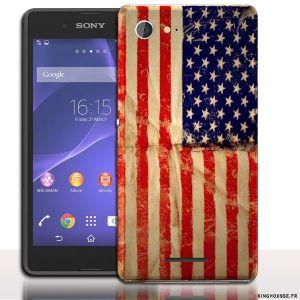 Coque sony E3 American Vintage - Drapeau des USA - Accessoire Sony. #Coque #sony #e3 #xperia #usa #etats #unis #drapeau #vintage #case