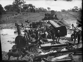 Today in Australian History   Sunday, January 25, 1885 - One of Australia's earliest rail disasters occurs at Cootamundra in New South Wales.    The accident occurred in the early hours of the morning of 25 January 1885 about five kms south of Cootamundra.  To read more click on photo