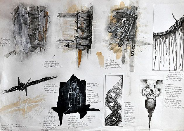GCSE art mixed media sketchbook page