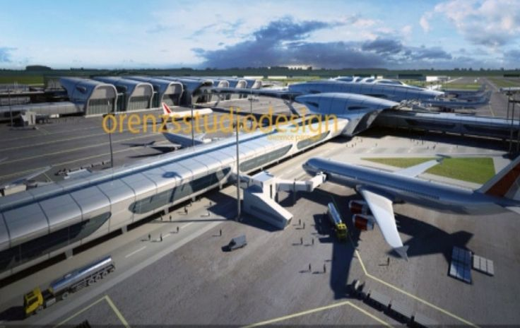 Design concept of an airport. Competition winner entry