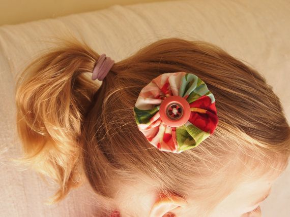 Hair clip: fabric and button - floral by MagpieSailor on Etsy, $6.50