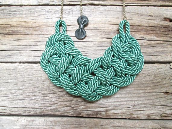Rope statement necklace Green statement necklace by NasuKka, $34.00