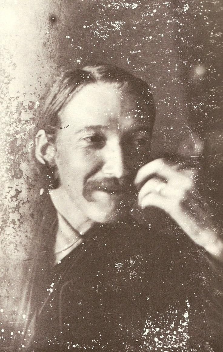 One of the rare images of Robert Louis Stevenson smiling!