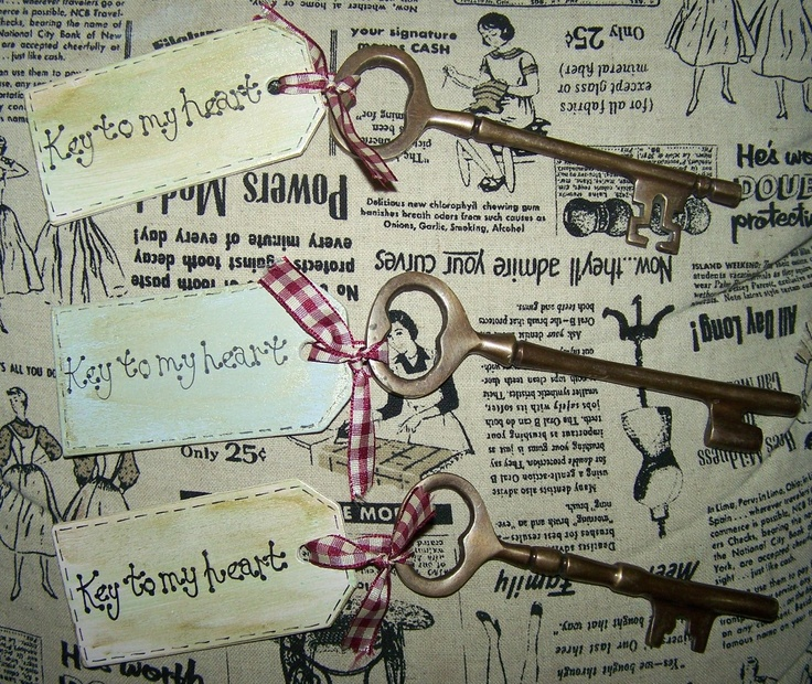 French vintage keys with shabby chic style tags!