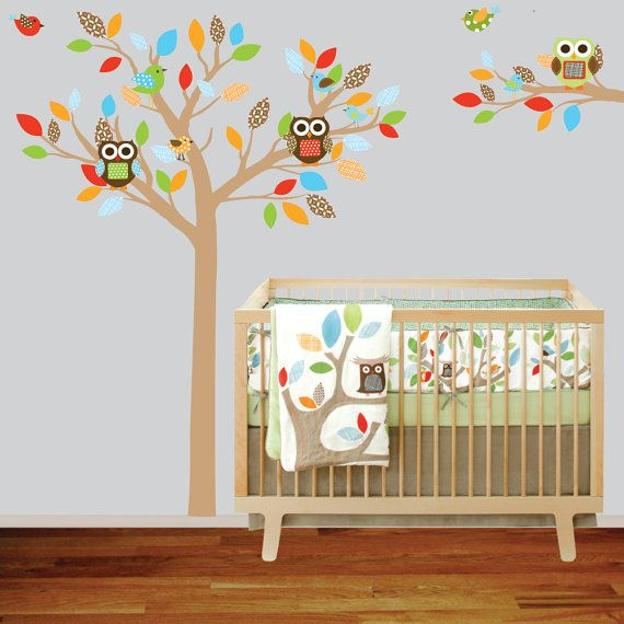 Retro tree and birds wall decal