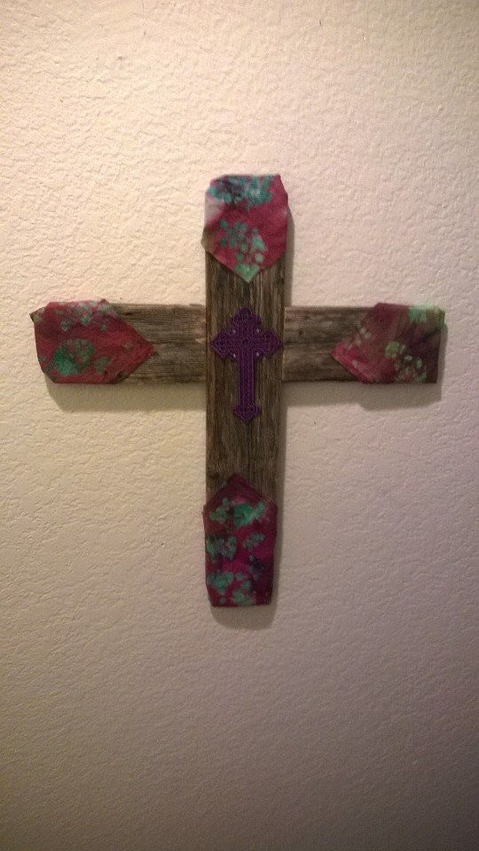 Fence wood and some crafty dressing on a Cross for my Reb.