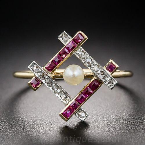 Edwardian Natural Pearl, Ruby and Diamond Ring