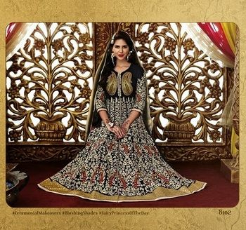 Heavy embroidery worked designer anarkali attire