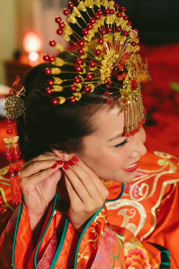 Traditional Oriental Wedding Headdress | Real Weddings: Kelly's Oriental Wedding
