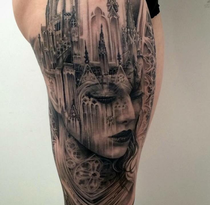 Woman & Building Tattoo