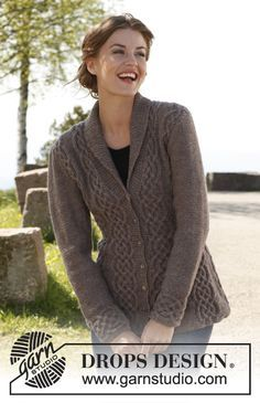"""Free pattern: Knitted DROPS fitted jacket with cables and shawl collar in """"Lima"""". Size: S - XXXL."""