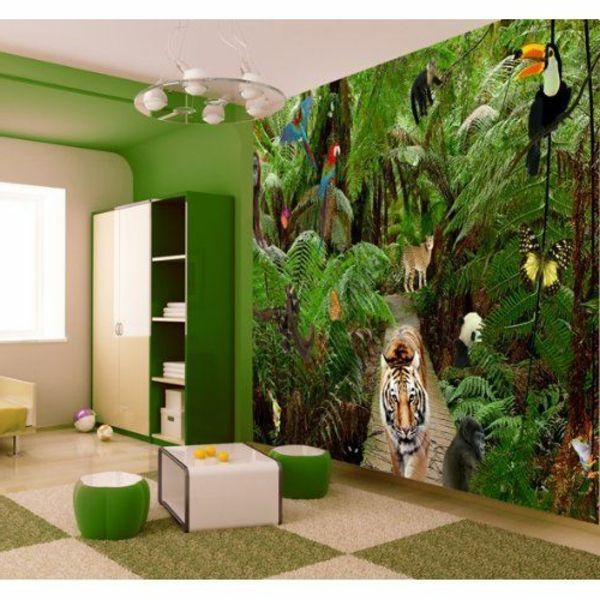 kindertapete dschungel f r attraktives kinderzimmer ideen haus pinterest tiger. Black Bedroom Furniture Sets. Home Design Ideas