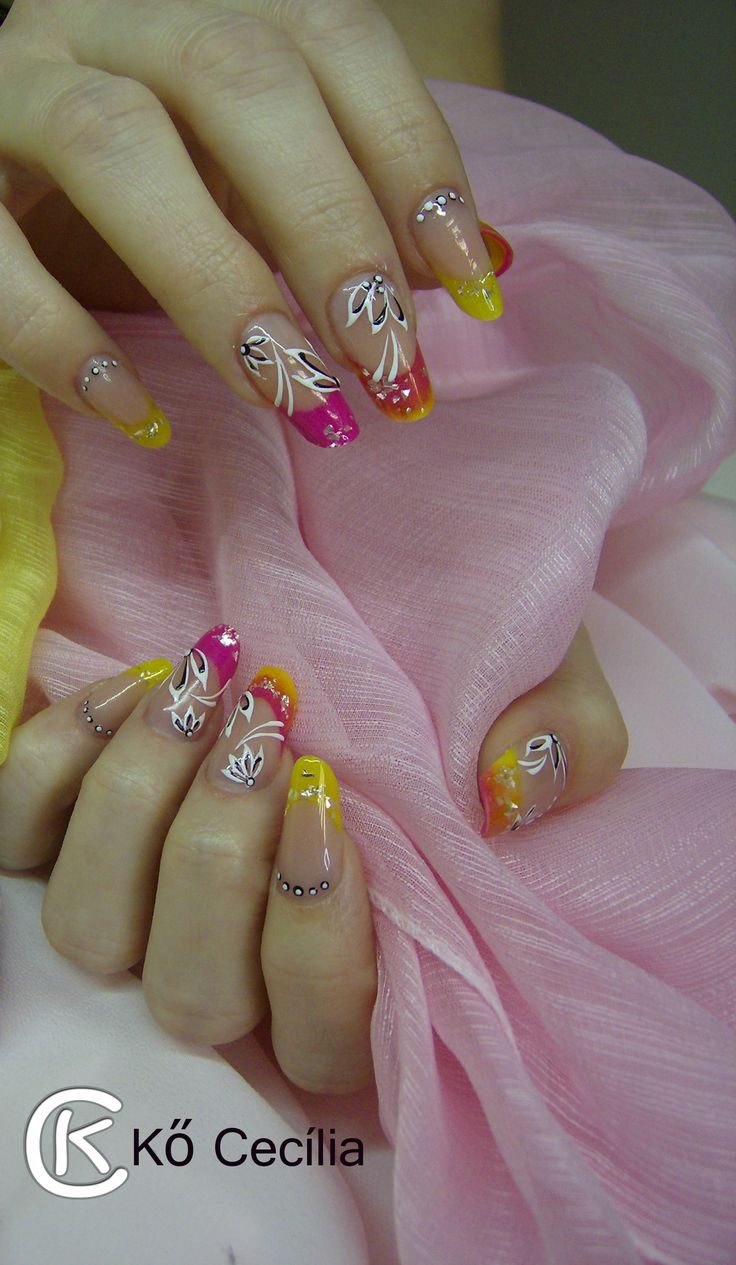 Nail art, Nails, Yellow and pink, summer nails