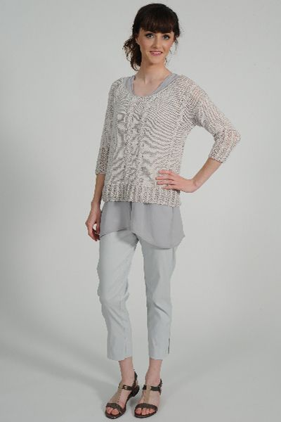 Colleen pure cotton 3/4 sleeve cable hand knit sweater, Shatsu tunic, Capri cropped pant, Identity pewter leather sandal