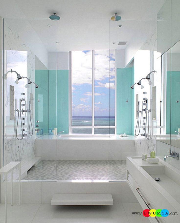 Bathroom:Decorating Modern Summer Bathroom Decor Style Tropical Bath Tubs Ideas Contemporary Bathrooms Interior Minimalist Design Decoration Plans Aqua Blue In The Powder Room Cool and Cozy Summer Bathroom Style : Modern Seasonal Decor Ideas