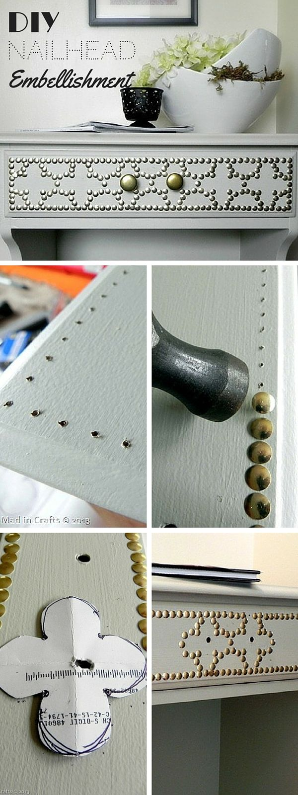 Check out the tutorial: #DIY Nailhead Embellishment #crafts #homedecor