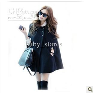Wholesale New style women Poncho Korean Wool Coat Cape-style Shawl coat Single-breasted Black Poncho coats, Free shipping, $43.18/Piece | DHgate Mobile