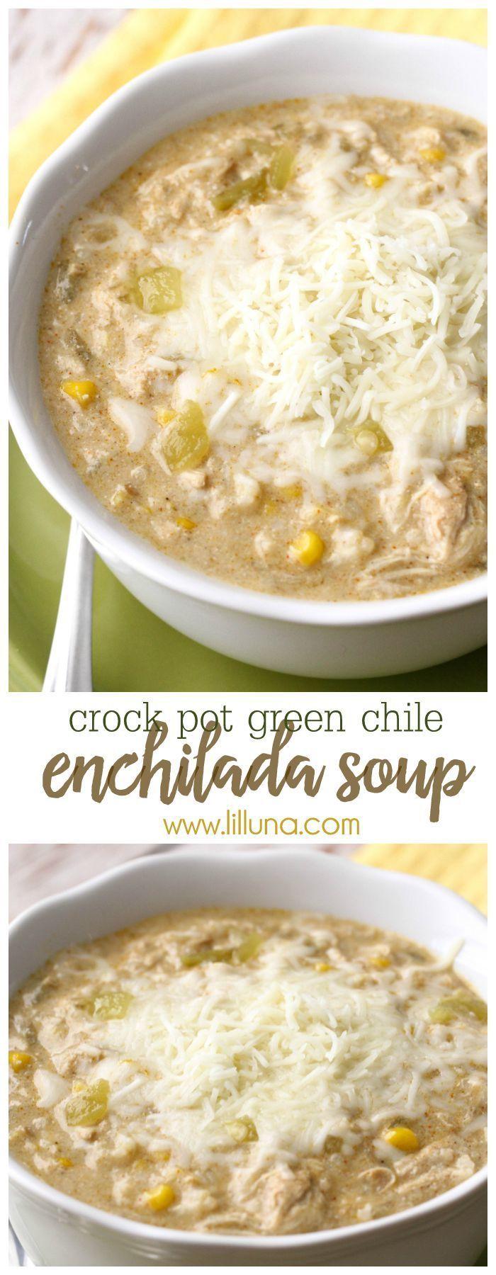 Crock Pot Green Chile Enchilada Soup - a new favorite soup recipe that is easy…