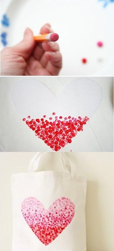 DIY – Painted Heart Bag. But instead of the bag, put on a canvas!