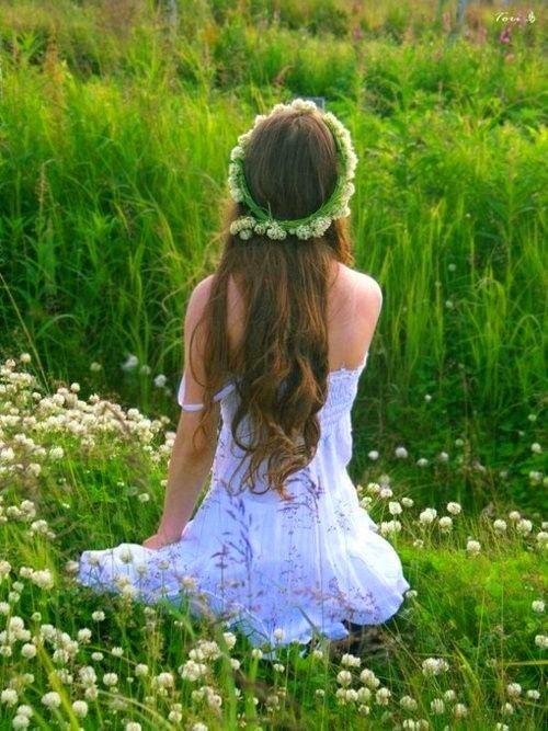 Girl Meadow Hippie Hippy Boho White Dress Flower Wreath I
