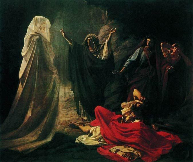 """The Witch of Endor by Nikolai Ge.Then the woman said, """"Whom shall I bring up for you?"""" He said, """"Bring up Samuel for me."""" When the woman saw Samuel, she cried out with a loud voice. And the woman said to Saul, """"Why have you deceived me? You are Saul."""" The king said to her, """"Do not be afraid. What do you see?"""" And the woman said to Saul, """"I see a god coming up out of the earth."""" """"An old man is coming up, and he is wrapped in a robe."""" Book of Samuel, chapter 28:3–25"""