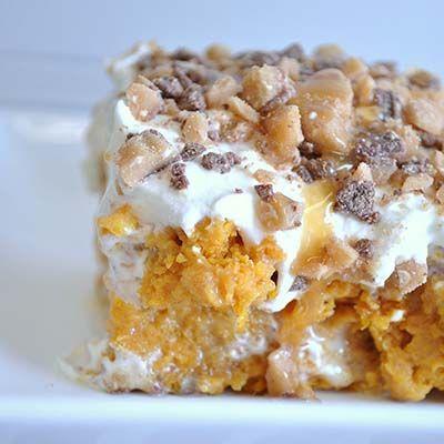 Pumpkin better than sex cake 1 box yellow cake mix 1 small can pumpkin puree 1 - 14 oz. can sweetened condensed milk 1 - 8 oz. tub cool whip 1/2 bag Heath Bits Caramel Sundae Sauce