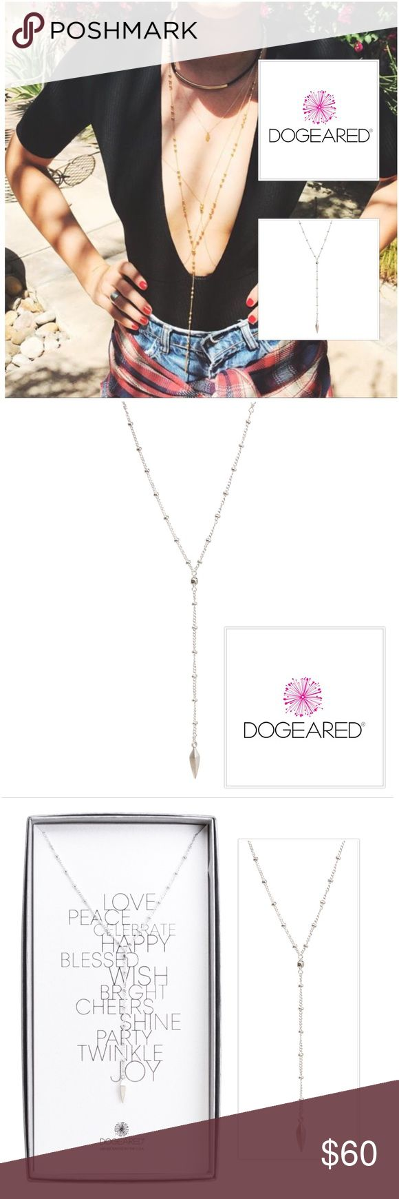 """Dogeared Beaded Y-Necklace Spear Sterling Silver Make a statement with next level details on the silhouette you absolutely need. Edgy charm on a cool chain… Y-Essential necklaces have it all. Create your own layers of love or let this spear-accented style stand out on its own.  35"""" sterling silver beaded chain 3"""" chain drop 12mm sterling silver faceted spear charm no clasp for closure, slips over your head love peace message card packaged in dogeared gift box Dogeared Jewelry Necklaces"""