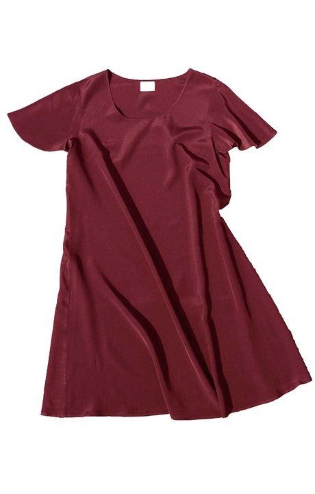 Sidenklänning ledig ärm burgundy