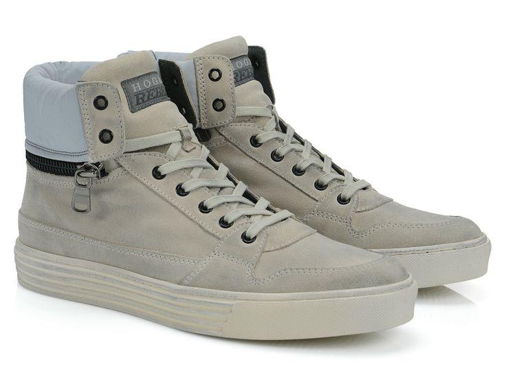 Hogan Rebel R206 light grey Suede high-top sneakers