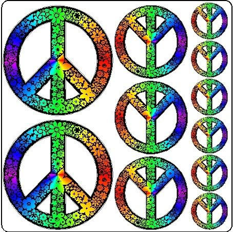 Rainbow Peace Symbols Stickers Removable Peace by eyecandysigns