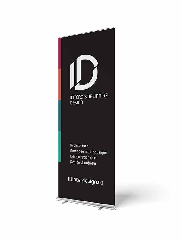 ID Interdisciplinaire Design roll-up banner. Design graphique d'une bannière rétractable pour ID Interdisciplinaire Design.