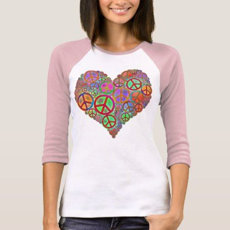 Vintage Peace Love Heart T-Shirt - tap to personalize and get yours