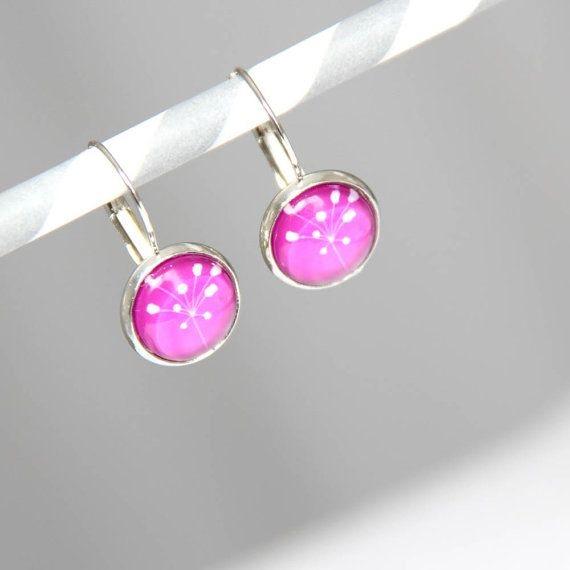 Leaves glass dome earrings  fuchsia  white  graphic  by Caracoli