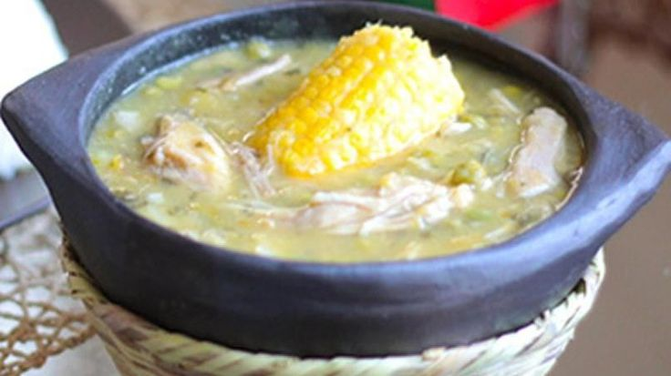 Colombian Ajiaco 8 cups water 4 medium skinless and boneless chicken breasts 1 cup dry gallant soldiers weeds (Colombian plant) 2 pounds Yukon gold potatoes 2 pounds white potatoes 1 medium onion, chopped 2 garlic cloves 4 large ears of corn 1 chicken bouillon cube 1/2 cup green peas Salt to taste