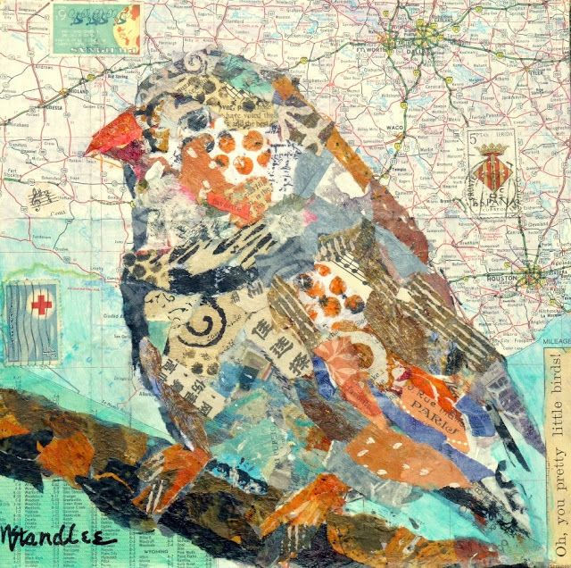 Nancy Standlee Fine Art: Torn Paper Collage, Pretty Bird 13065, Day 2, 30 Paintings in 30 Days September 2013 Leslie Saeta Challenge by Texa...