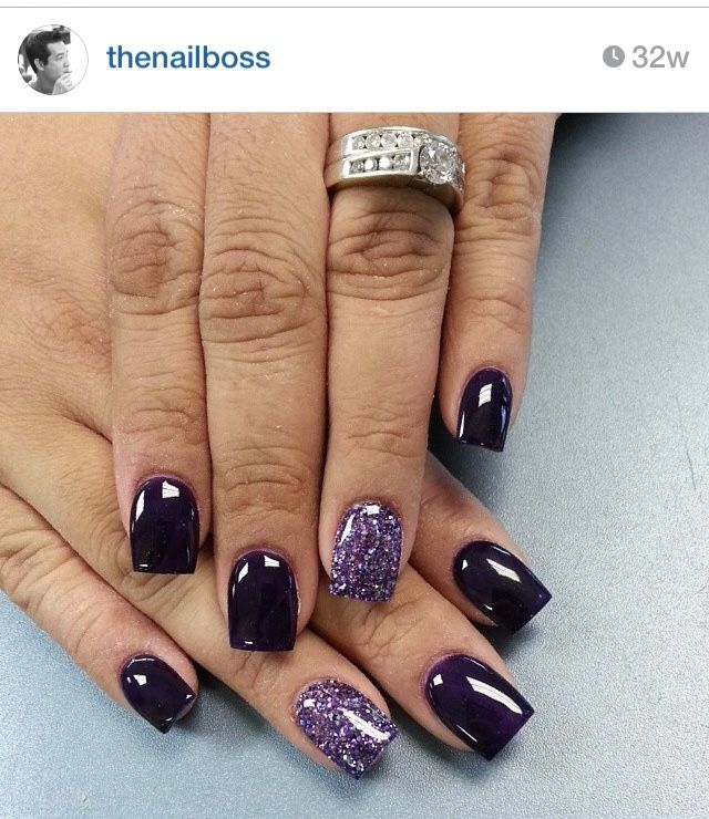 purple burgundy glitter nails