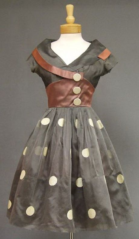 1950′s Grey Organdy and Mauve Satin Cocktail Dress