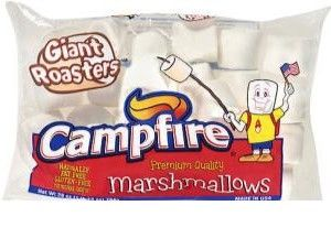 A box of 12 packs of Campfire Giant Roasters White Marshmallow.