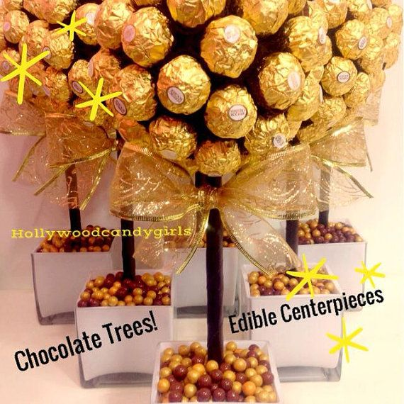 Ferrero Rocher Holiday Chocolate Brown,Gold Candy Arrangement Topiary Favors Centerpiece, Candy Buffet Decor, Wedding, Mitzvah,