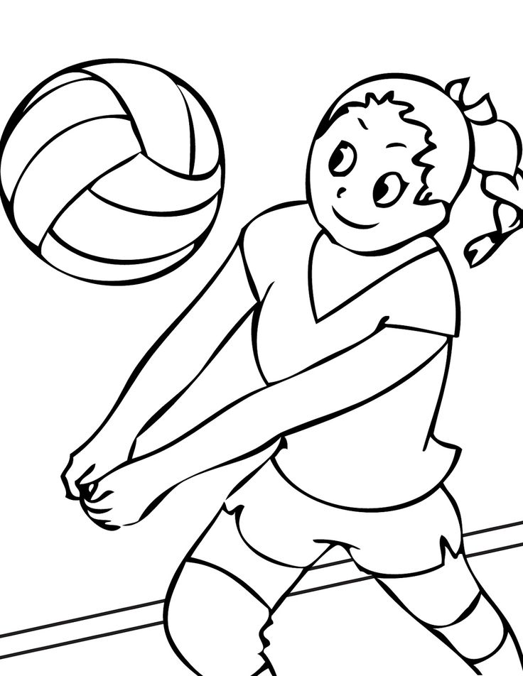 Smiling While Playing Volleyball Coloring Pages