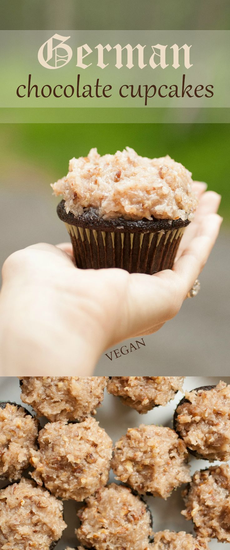 Produce On Parade - German Chocolate Cupcakes - Seriously the real deal and so easy to make. Chocolate, coconut, and pecan goodness that is the German chocolate cake in cupcake form. Instructions on how to stuff a cupcake as well!