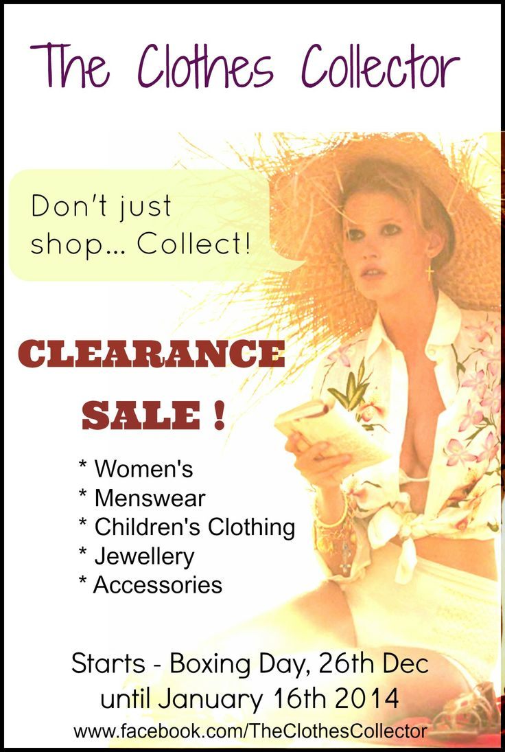 No Top Picks because there are too many good bargains to be had at our CLEARANCE SALE on FB page; www.facebook.com/TheClothesCollector/